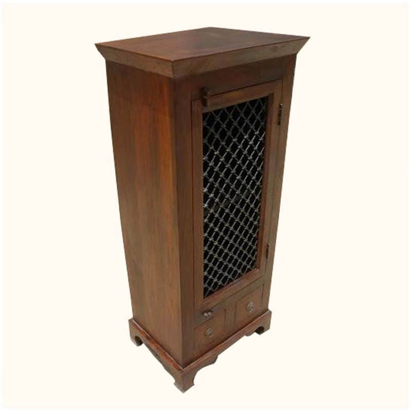 Wooden Corner Cabinet ~ Solid rustic wood kitchen corner storage drawer cabinet