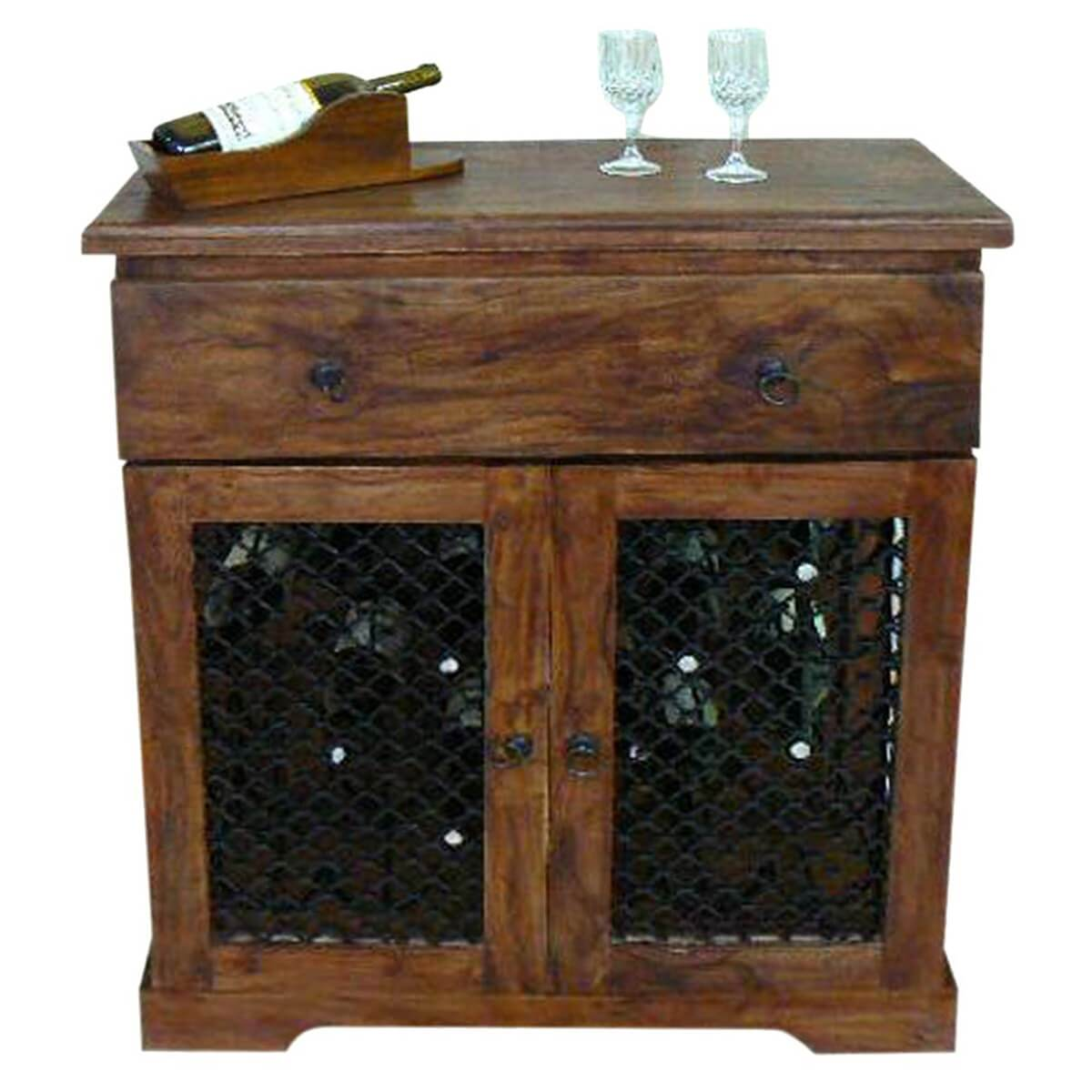 Hemlock Traditional Rustic Solid Wood Iron Grill Door Wine ...