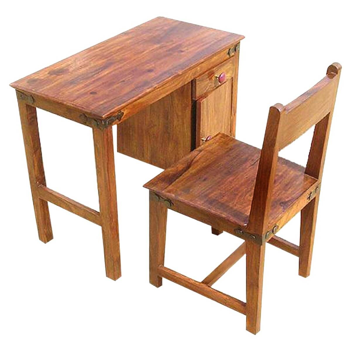 Study Table Chair Set : Solid Wood Student Writing Study Table Desk with Chair Set