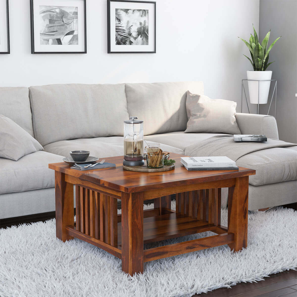 Rustic Solid Wood Square Coffee Table Furniture
