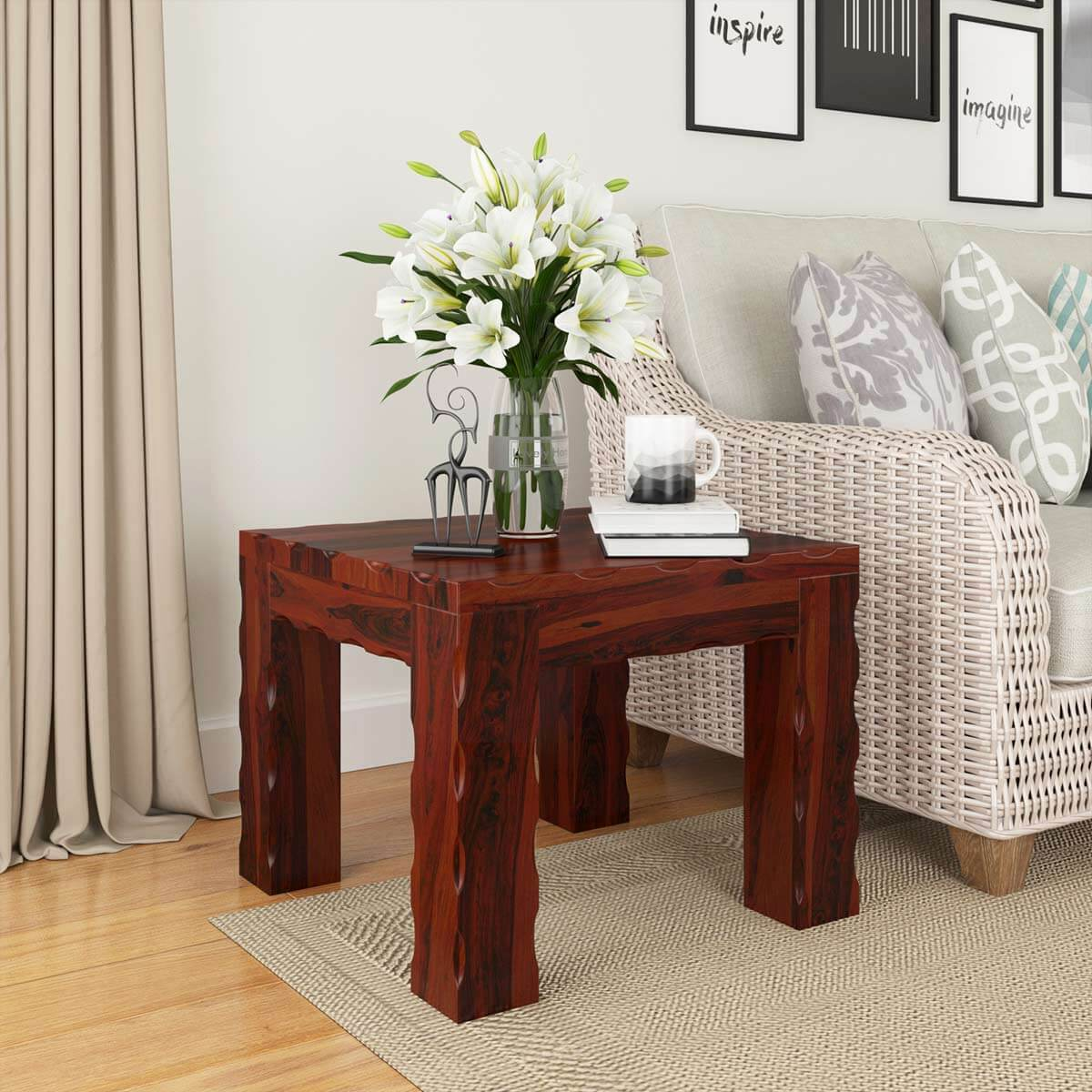 solid wood unique square wood bed side end table stand