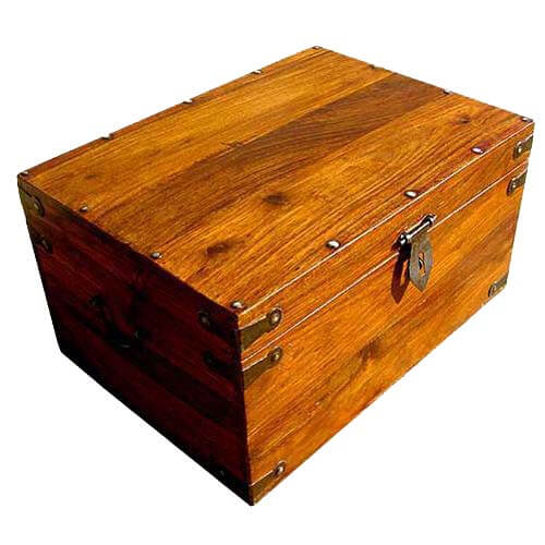 Primitive Rosewood Treasure Chest Storage Trunk Coffee Table