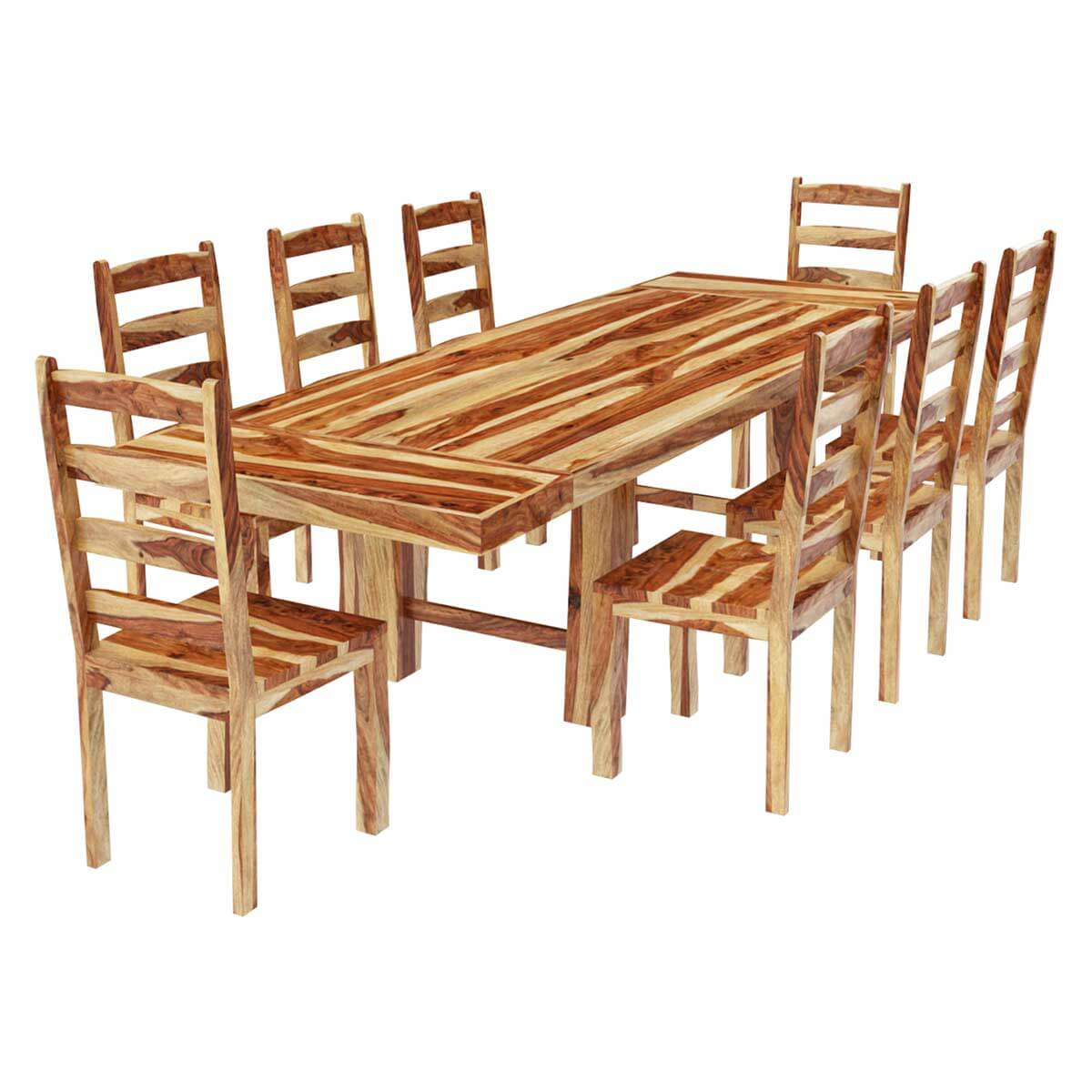 no stain natural solid wood dining room table chair set