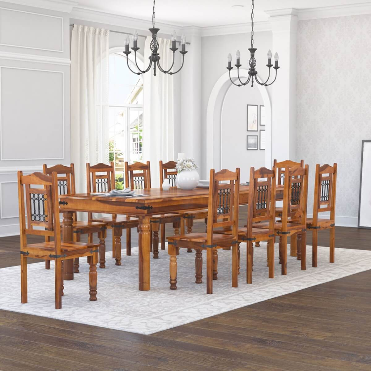 San francisco rustic furniture large dining table with 10 for Dining table set