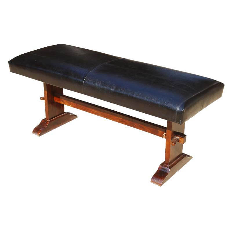 Latulippe Leather Upholstered Solid Wood Amish Style Dining Bench