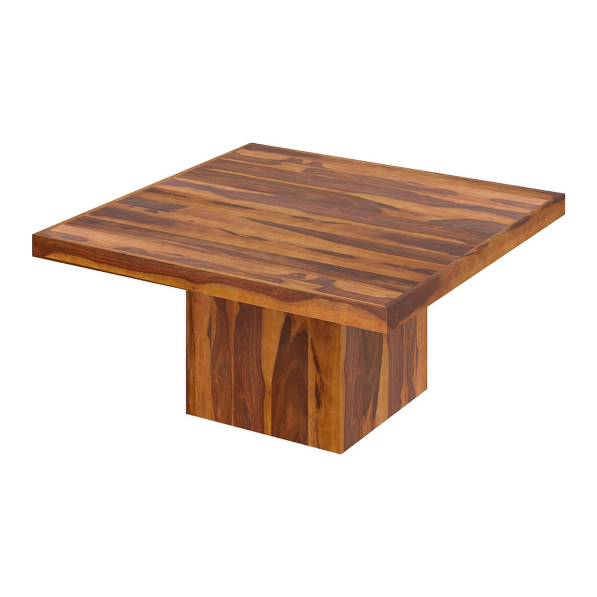 Solid wood modern rustic block pedestal square dining for Solid wood dining table