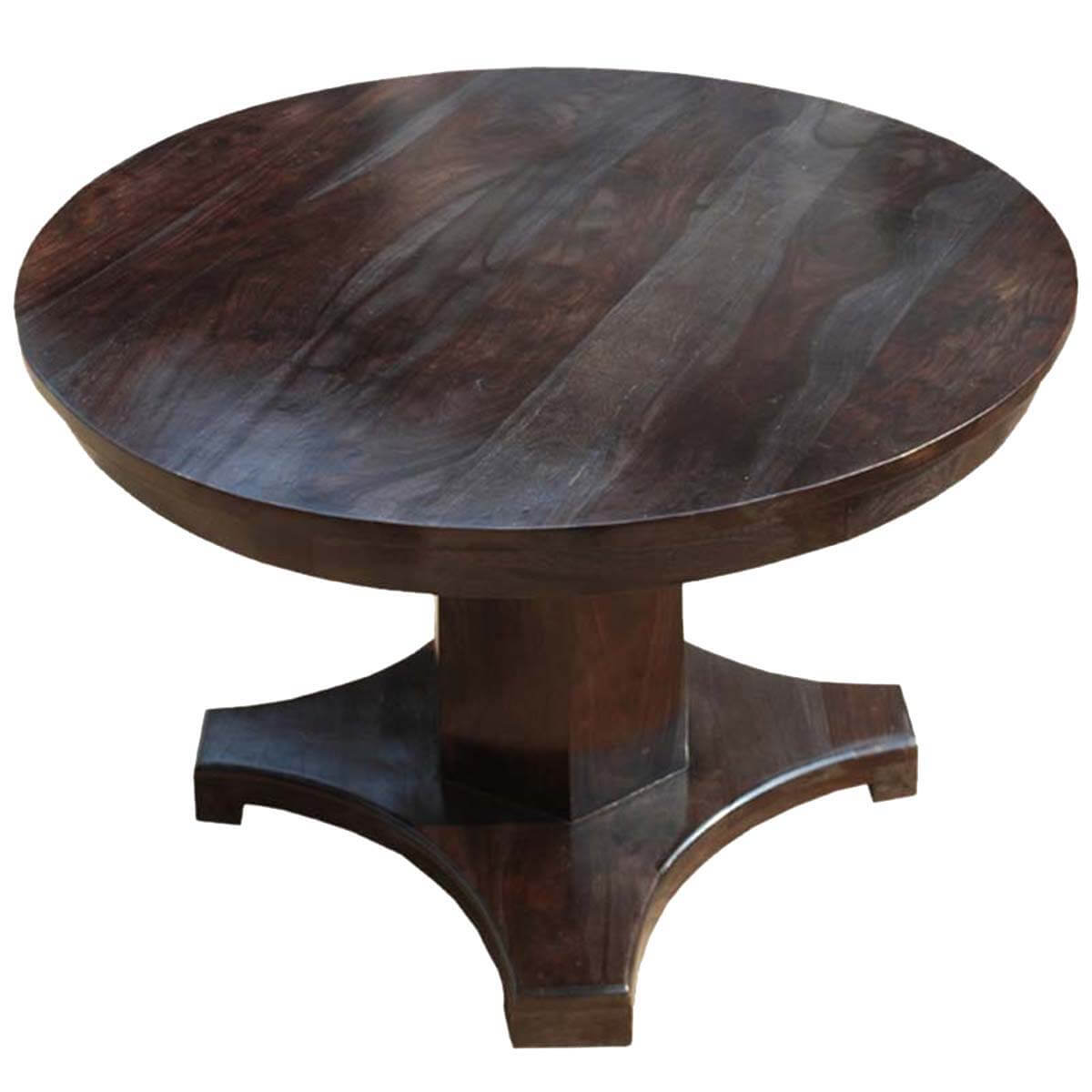 Solid wood sutton rustic round pedestal dining table for 4 for Solid wood round tables dining
