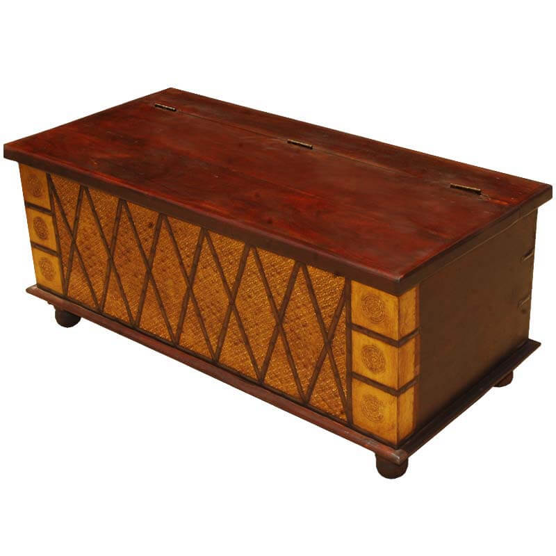 Heritage Golden Diamond Mango Wood Coffee Table Chest