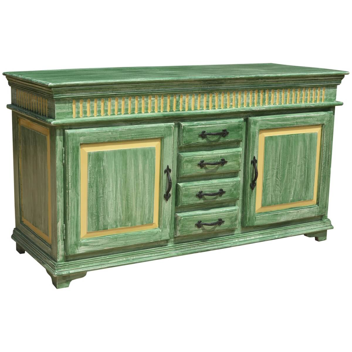 Oklahoma farmhouse distressed hand painted 4 drawer sideboard for Painted buffet sideboard