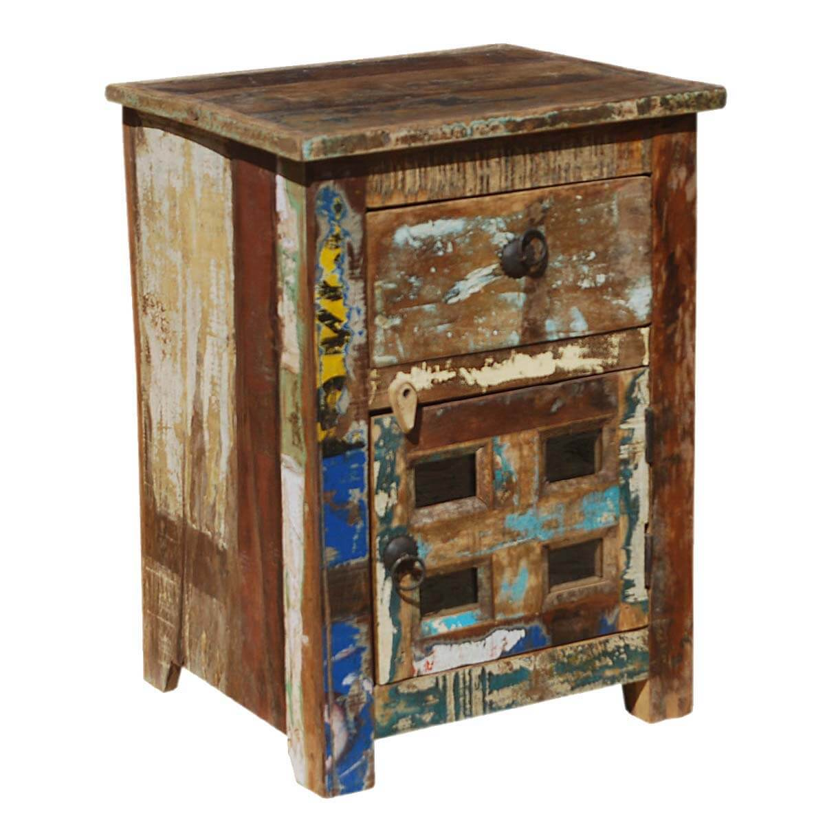 distressed reclaimed wood end table bedside with drawer
