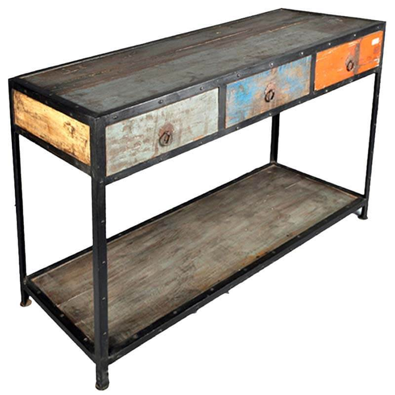 Stoneford reclaimed wood drawer industrial hall console