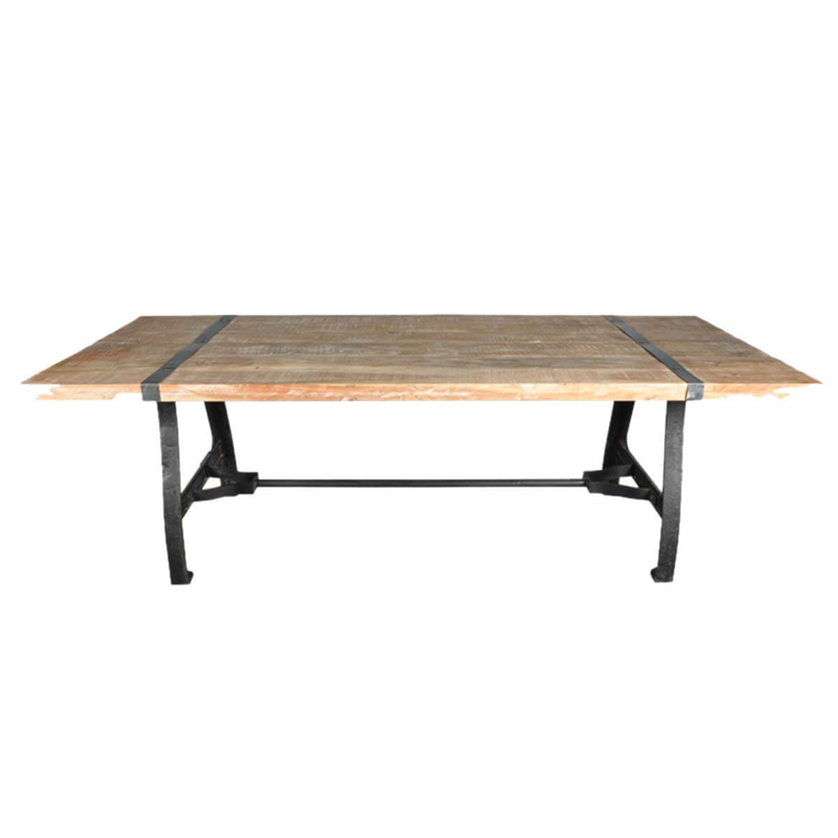 Industrial Natural Wood And Wrought Iron Dining Table