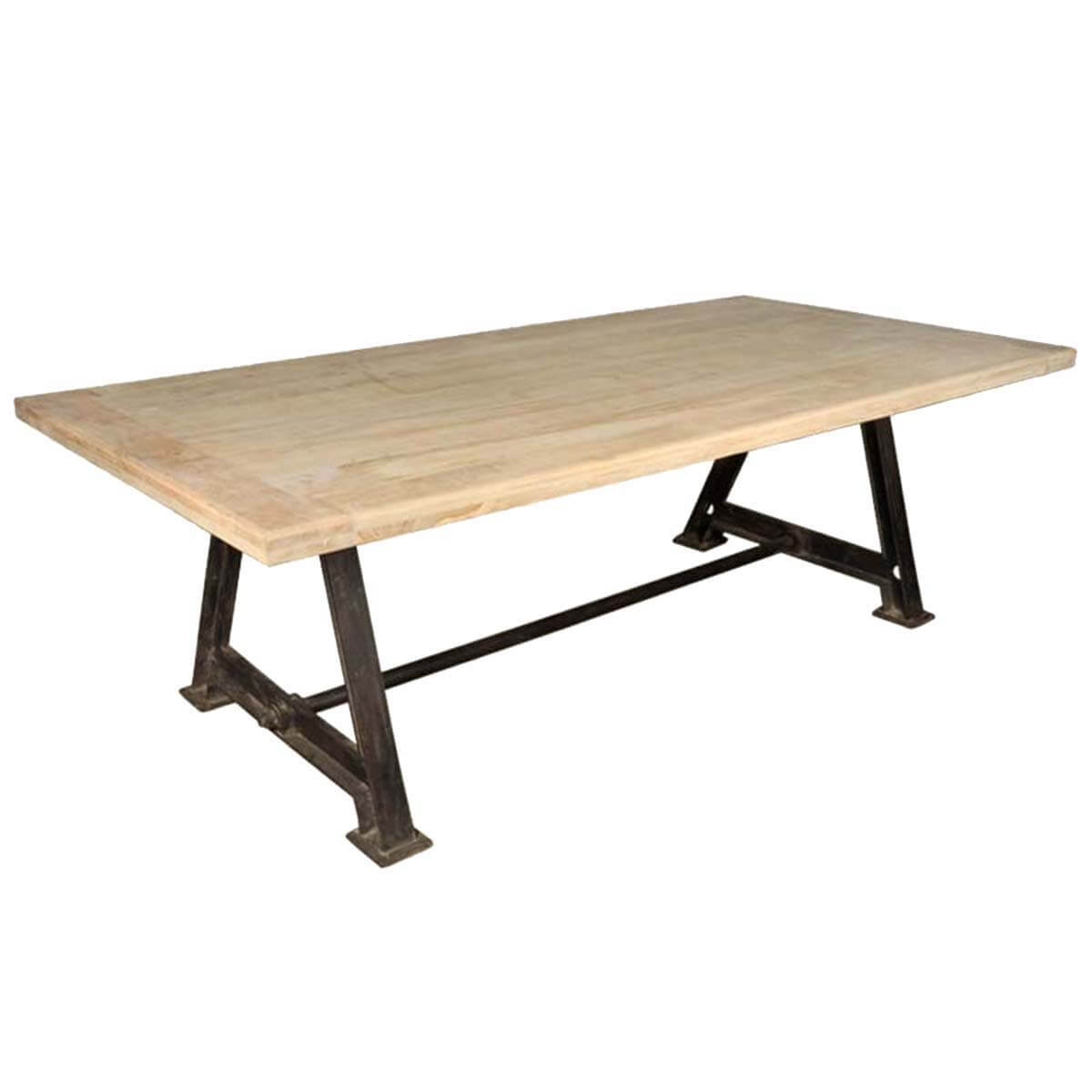 Hankin industrial tropical wood and iron double pedestal for Iron dining table