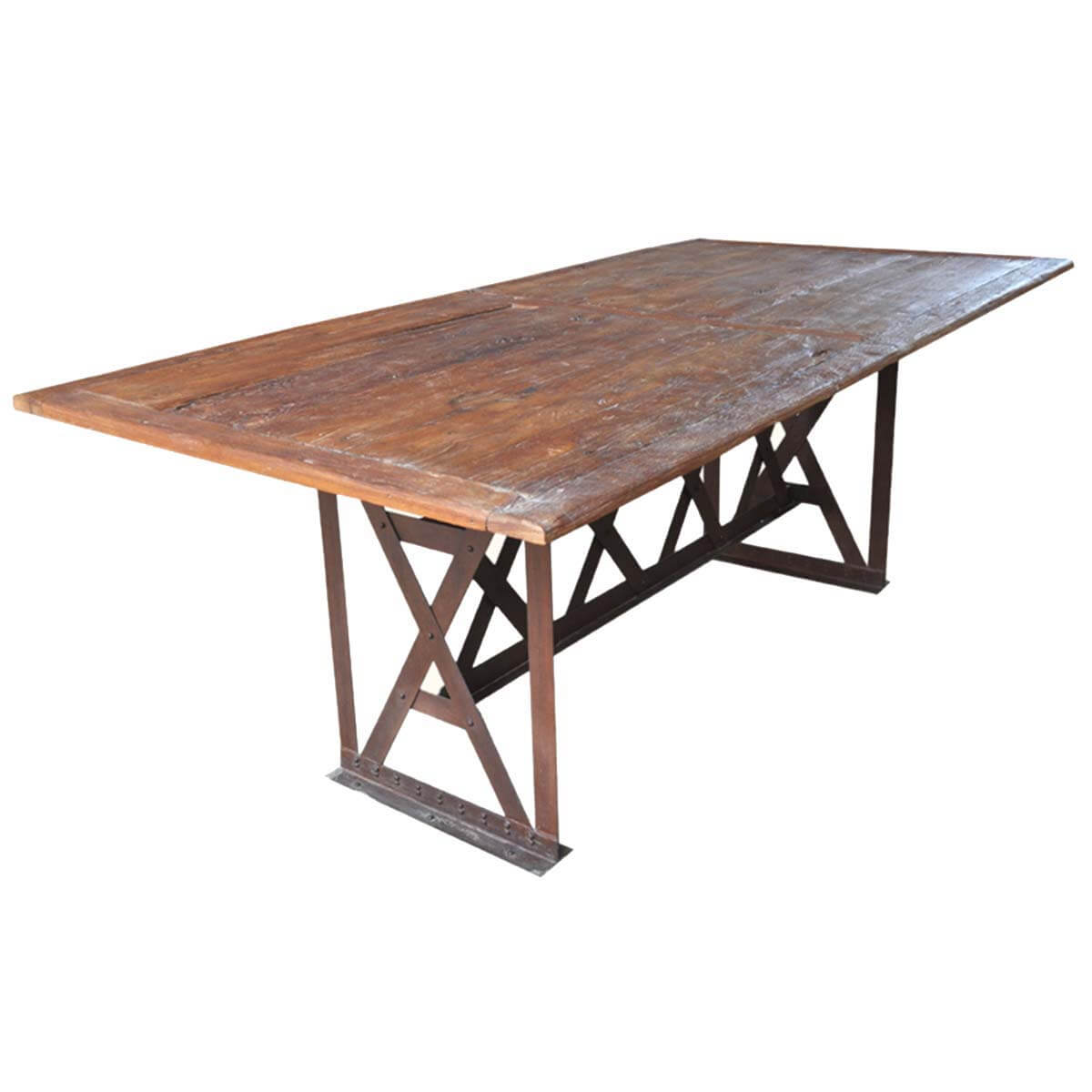 Rustic Industrial 5 X Wrought Iron Teak Patio Dining Table