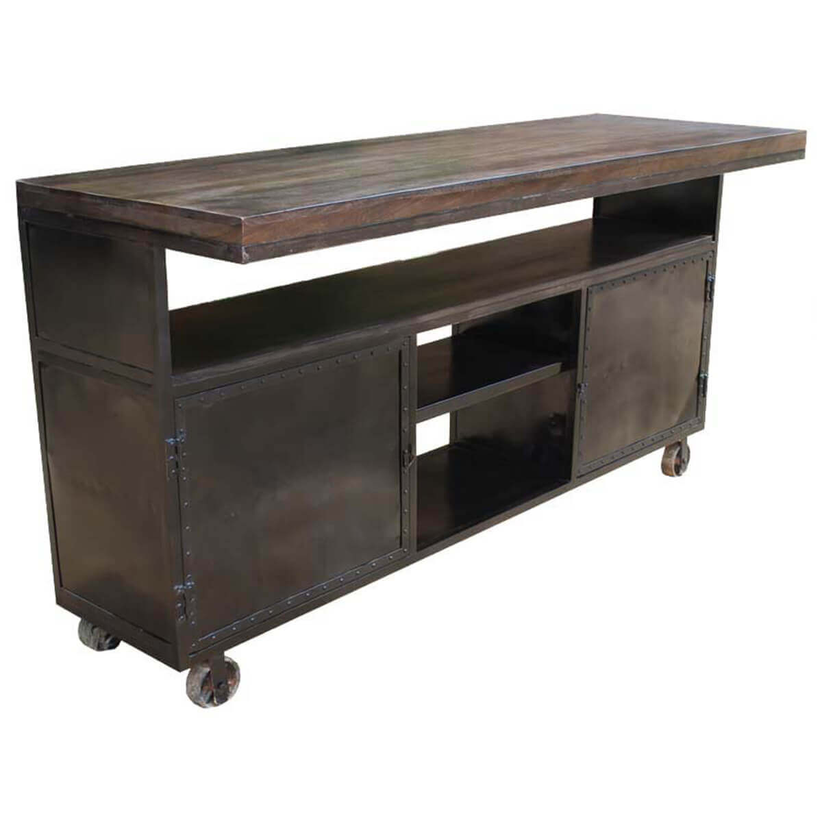 Kitchen island industrial mango iron rolling storage cabinet for Kitchen island cabinets