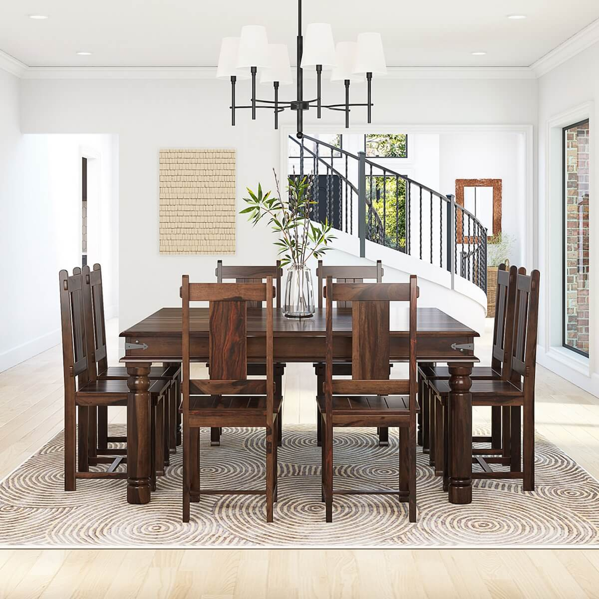 Rustic square large solid wood furniture dining table chair set