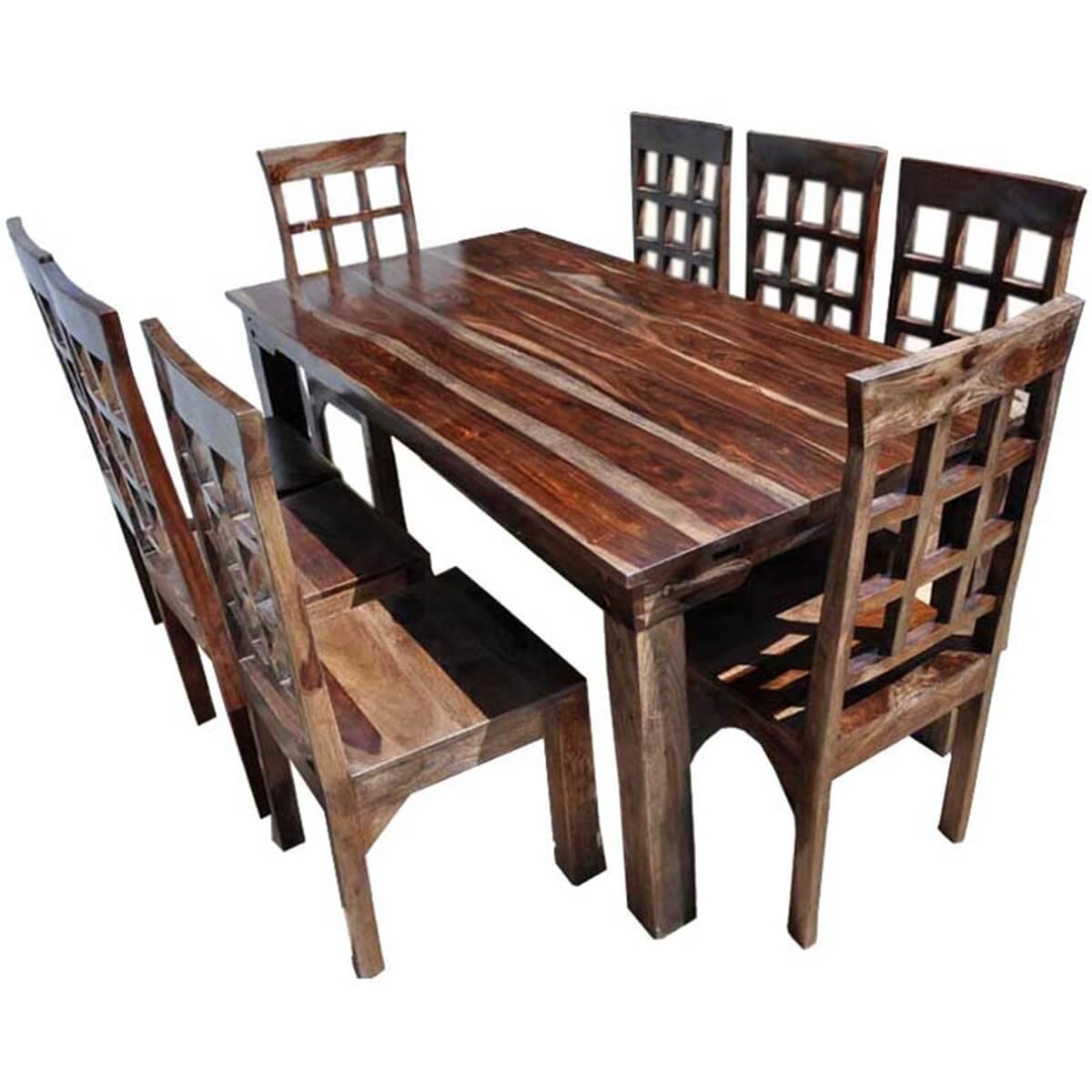 Portland rustic furniture dining room table chair set w extension - India dining table ...