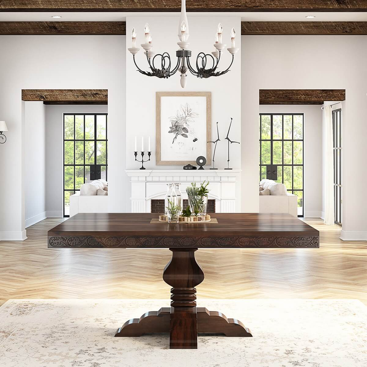 Florida rustic solid wood handcarved pedestal square for Solid wood dining table