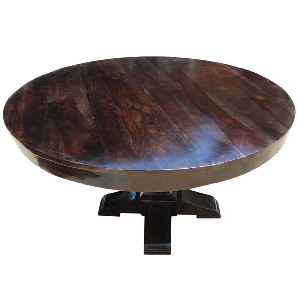 Round rustic solid wood dining table pedestal style for Solid wood round dining room table