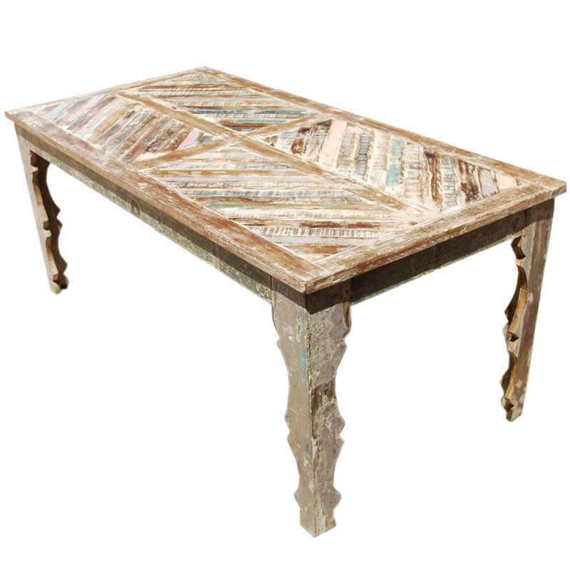 Hermit rustic reclaimed wood parquet top dining table for Top 10 dining tables