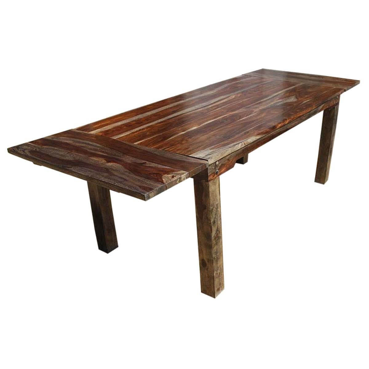 Rustic large cariboo dining table w extensions for Extension dining table