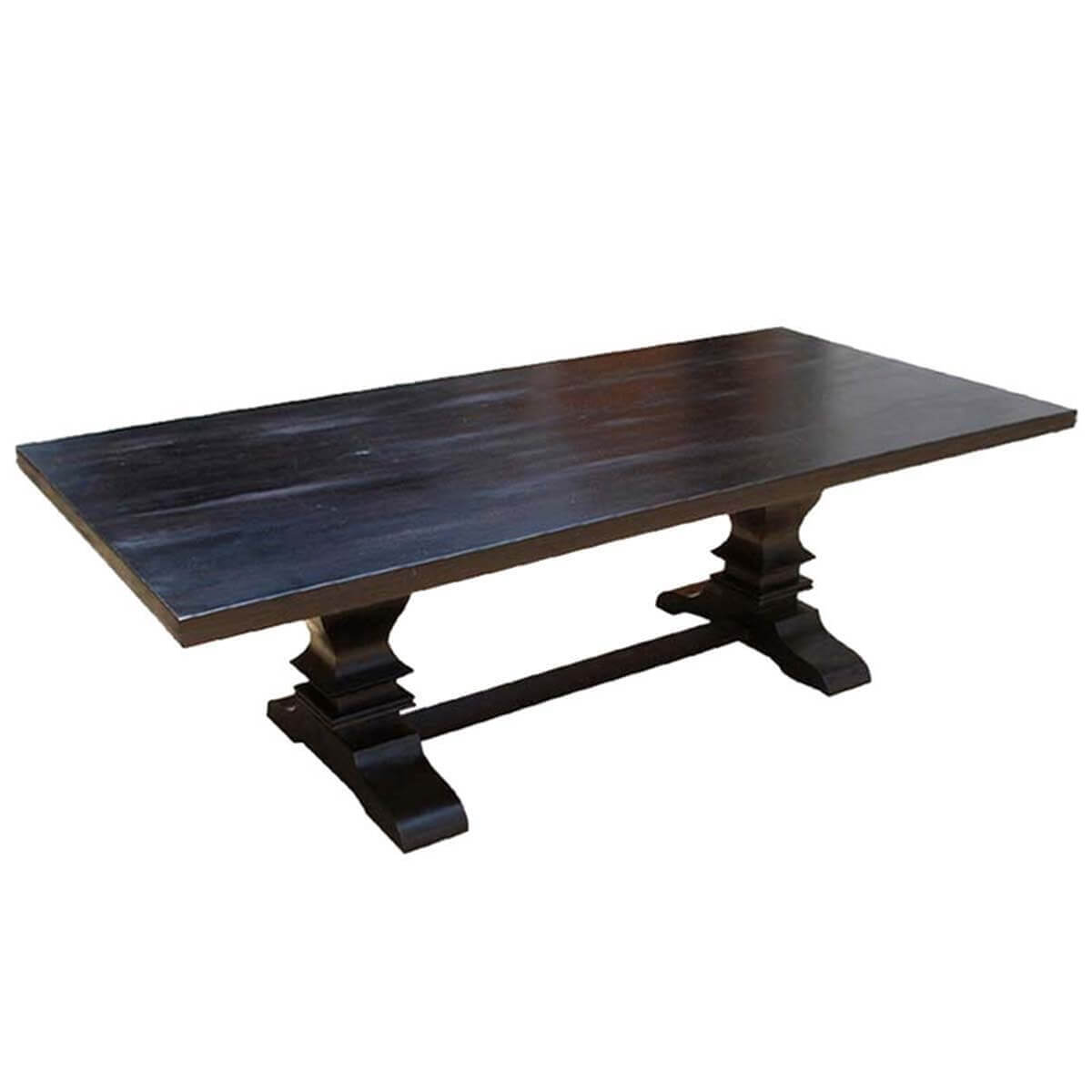 Sierra solid wood rustic trestle dining table for 8 people for Solid wood dining table