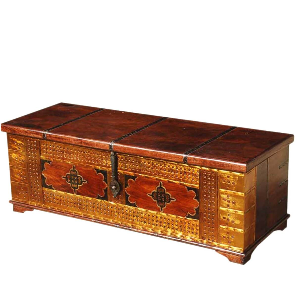 Unique handmade solid wood brass coffee table storage chest Coffee table chest with storage