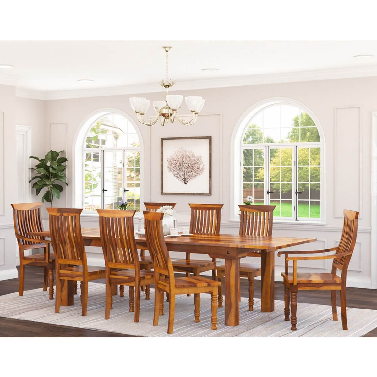 Rustic Mediterranean Eco Dining Table Chair Set W Extensions