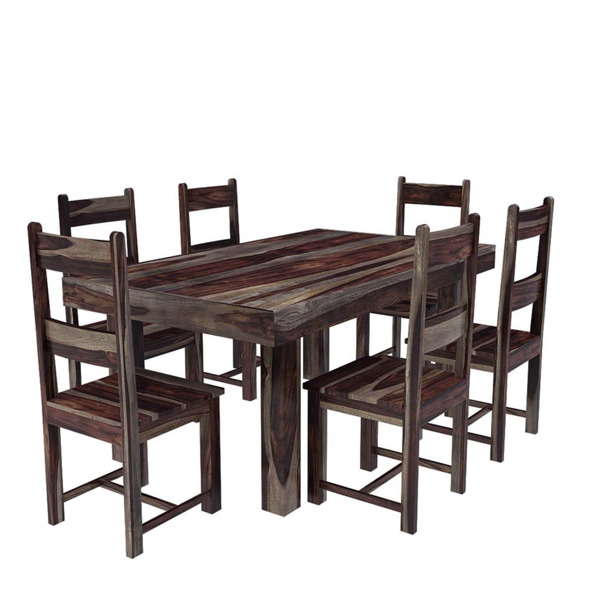 Frisco modern solid wood casual rustic dining room table and chair set - Wooden dining room chairs ...