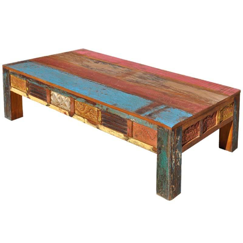 Santa Fe Sunset Painted Reclaimed Wood Rustic Coffee Table