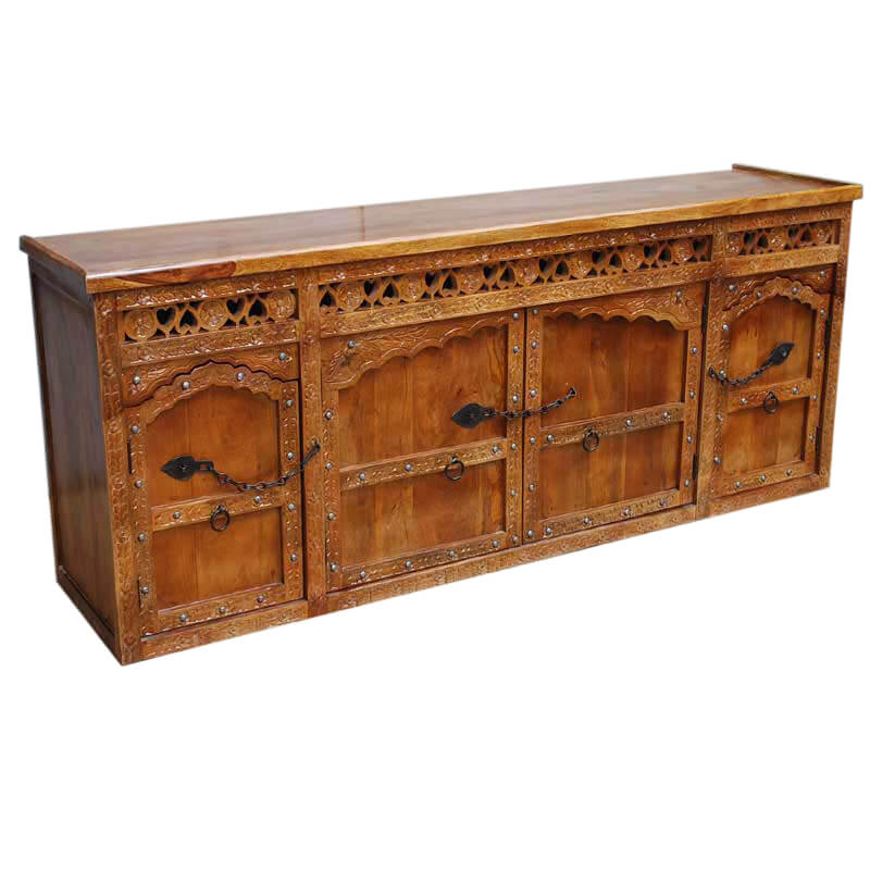 Ontario hand carved solid wood wrought iron hardware sideboard