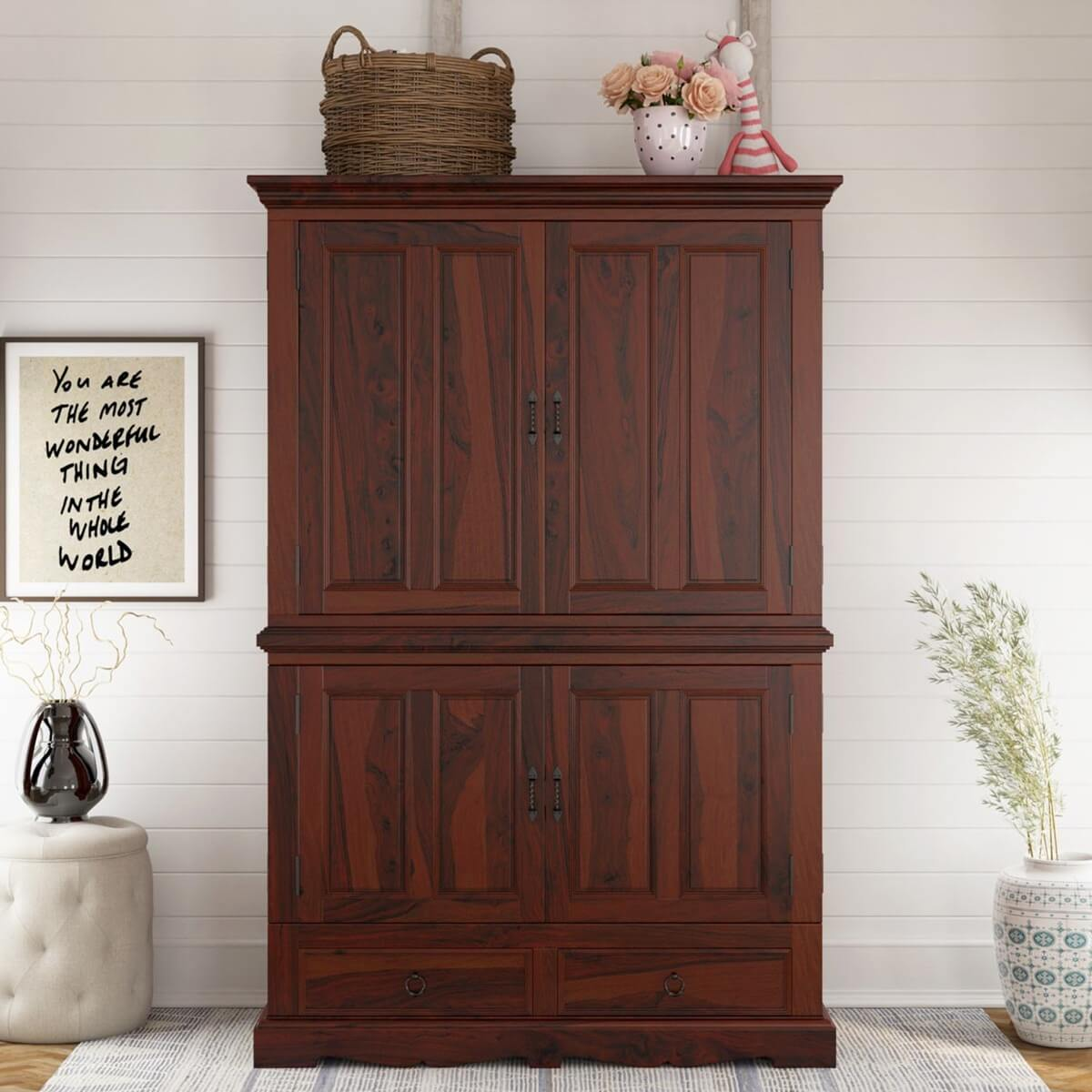Unfinished Wood Armoire ~ Large solid wood double door media storage armoire