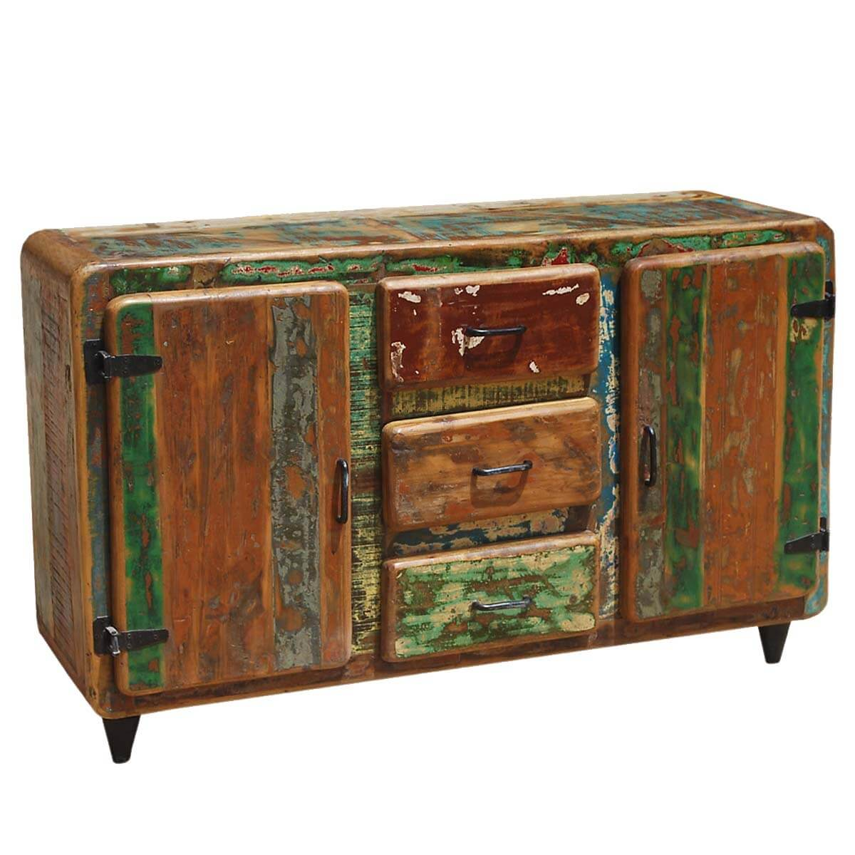 Roswell rustic reclaimed wood drawer sideboard cabinet