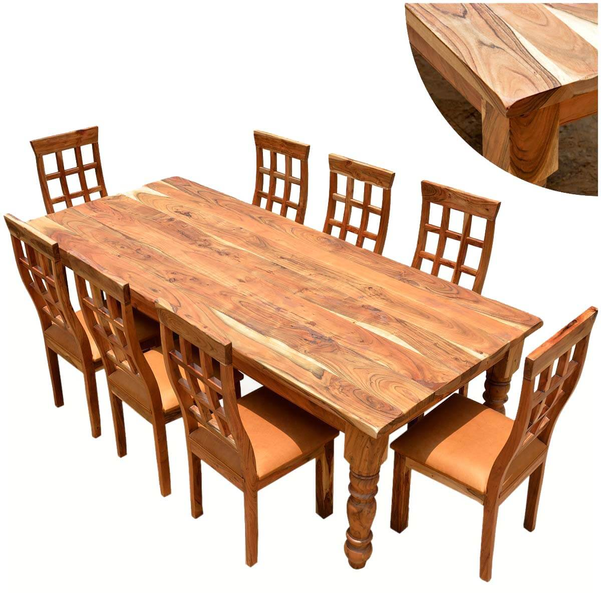 Rustic furniture farmhouse solid wood dining table chair set for Farmhouse dining room table set