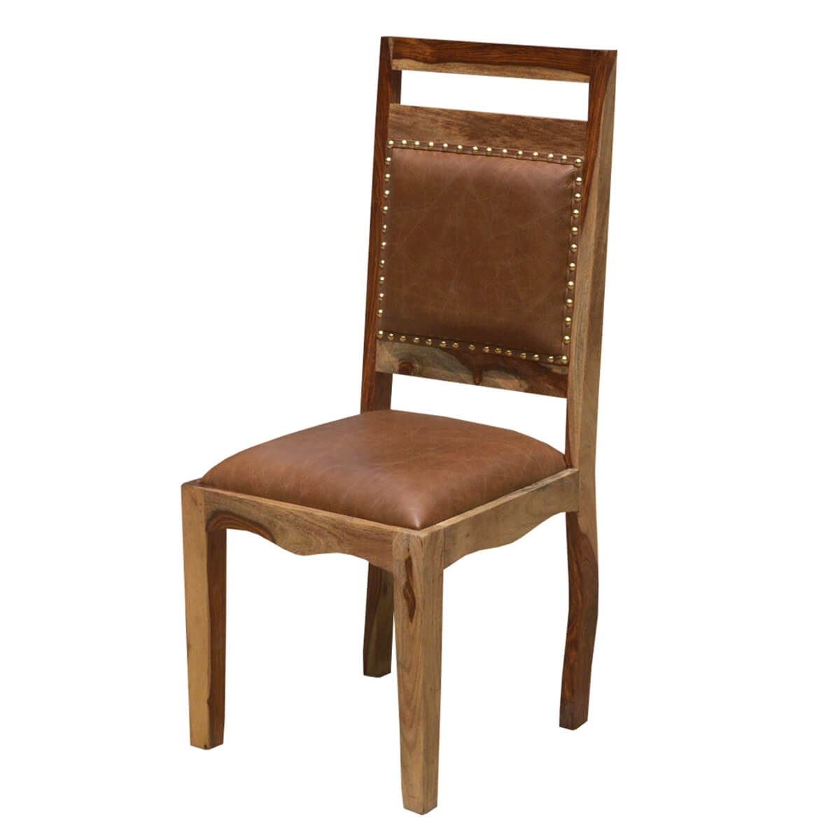 Transitional Rustic Solid Wood Leather Dining Chair