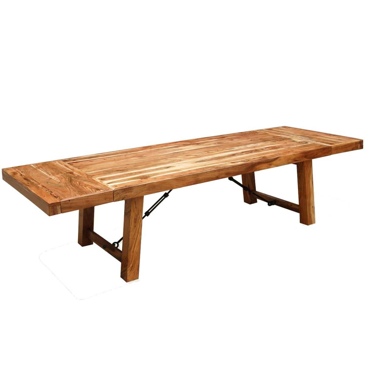 Rustic wood large santa fe dining room table w extensions for Biggest dining table