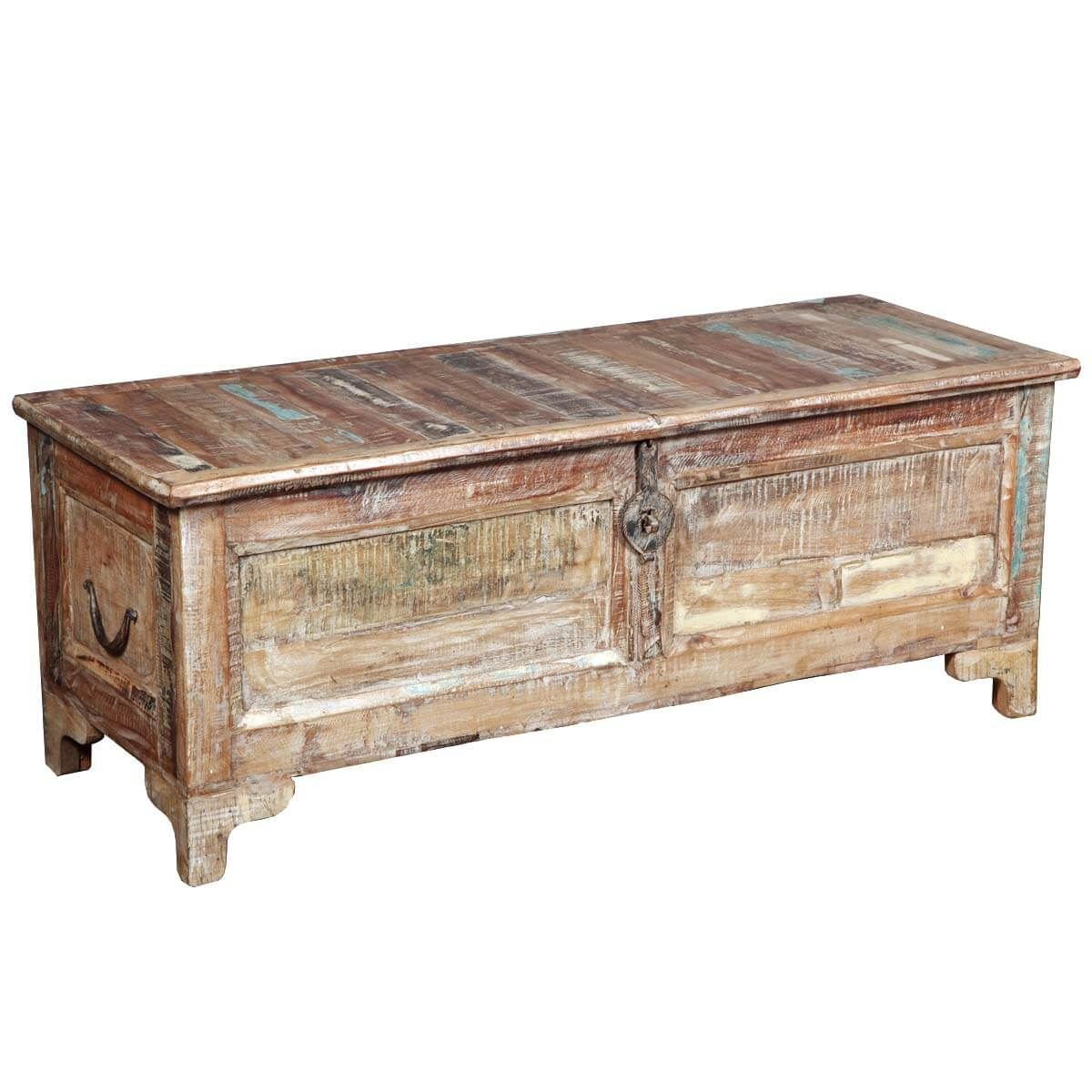 Rustic reclaimed wood storage coffee table chest for Reclaimed coffee table