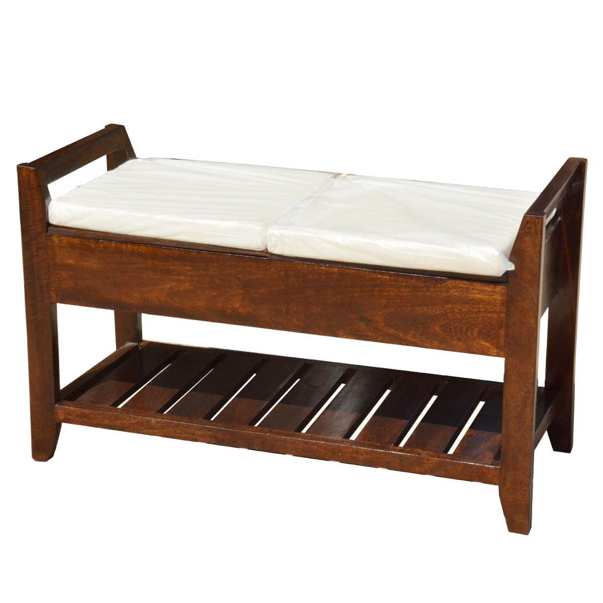 Rustic mission mango wood cushioned storage bench w bottom rack Storage benches