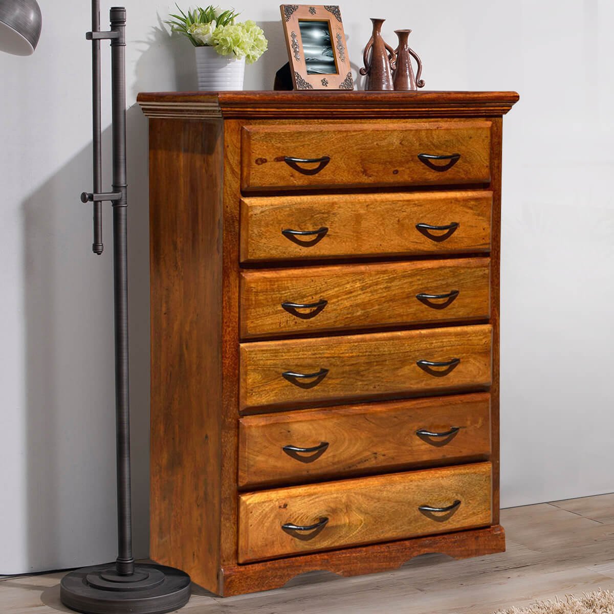 Shaker Solid Mango Wood 6 Drawer Dresser