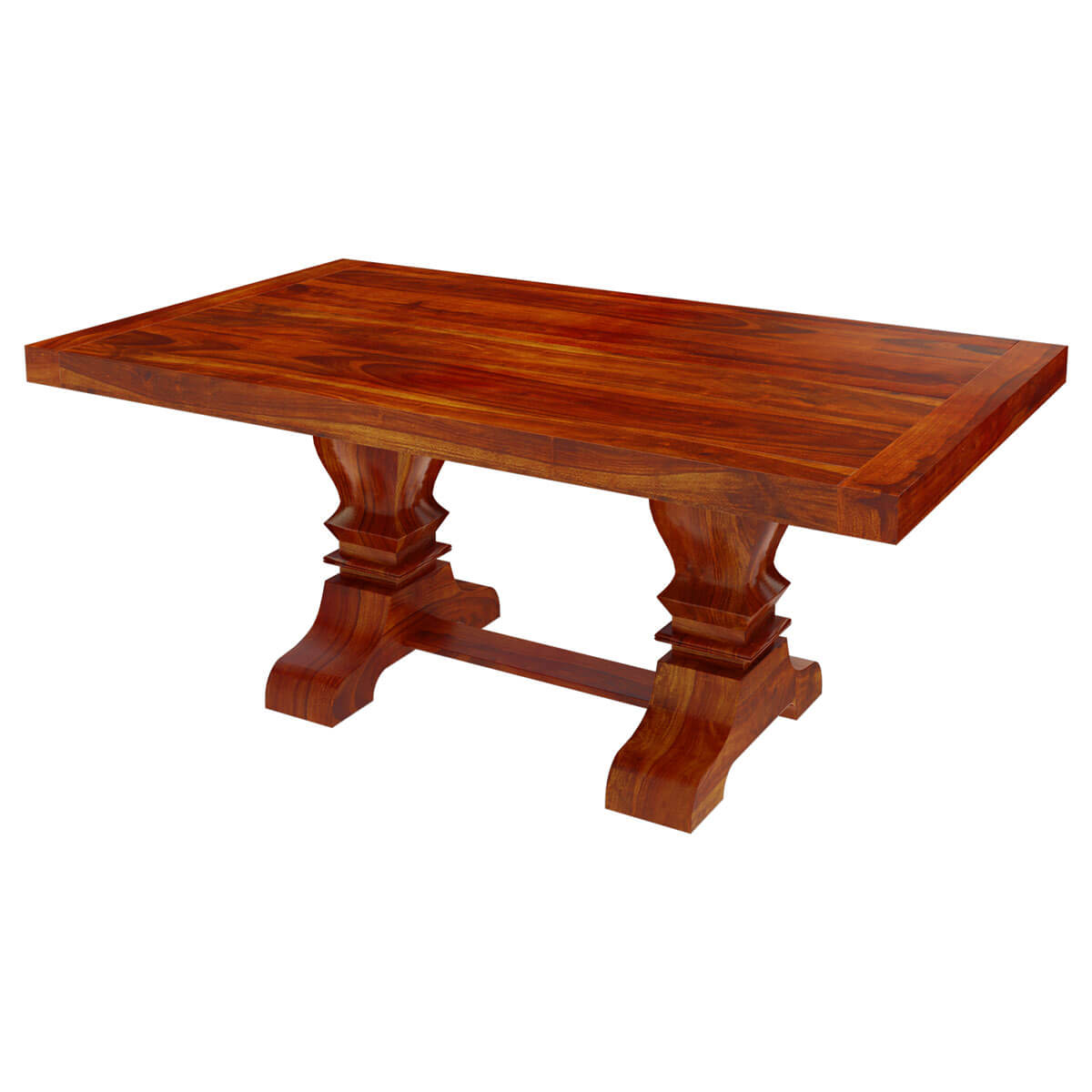 Solid Indian Hardwood Trestle Pedestal Dining Table For 6 People