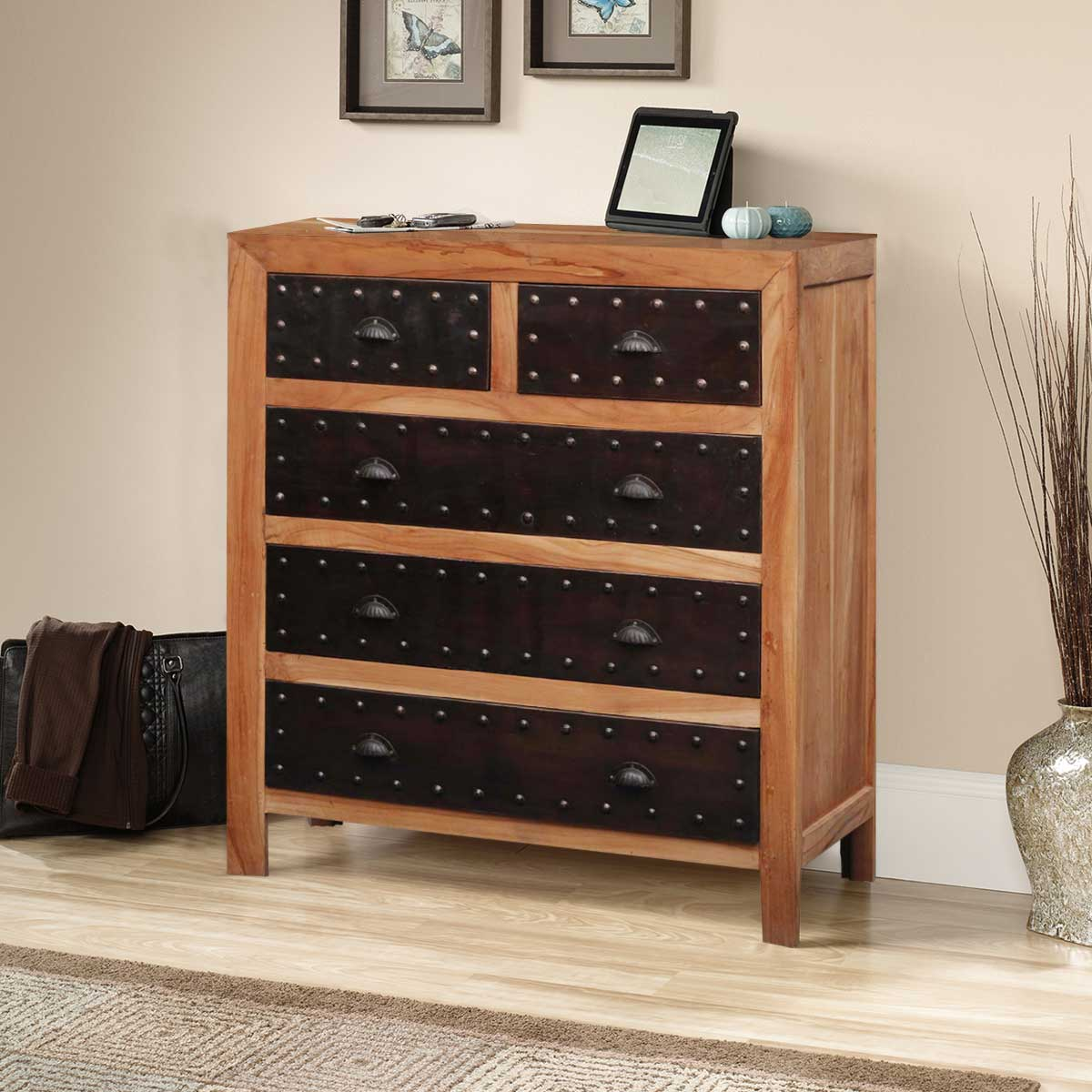 Rustic Reclaimed Wood & Iron Furniture 5 Drawer Dresser. Full resolution  photograph, nominally Width 1200 Height 1200 pixels, photograph with #B48317.