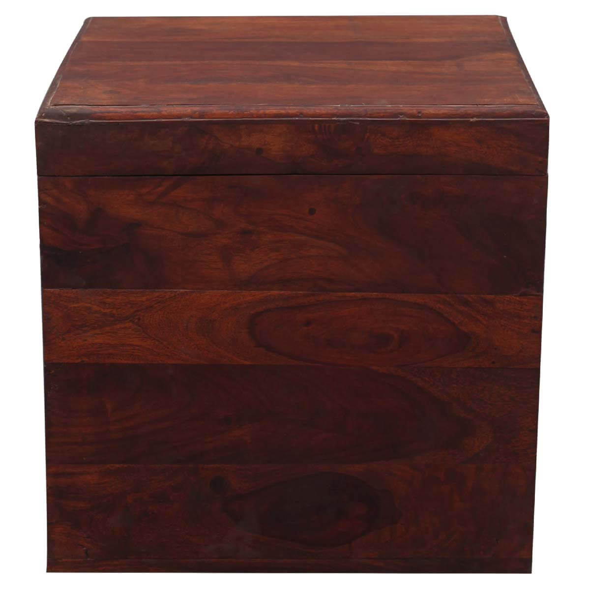 Santa fe 18 cube solid wood storage box end table for Solid wood cube side table