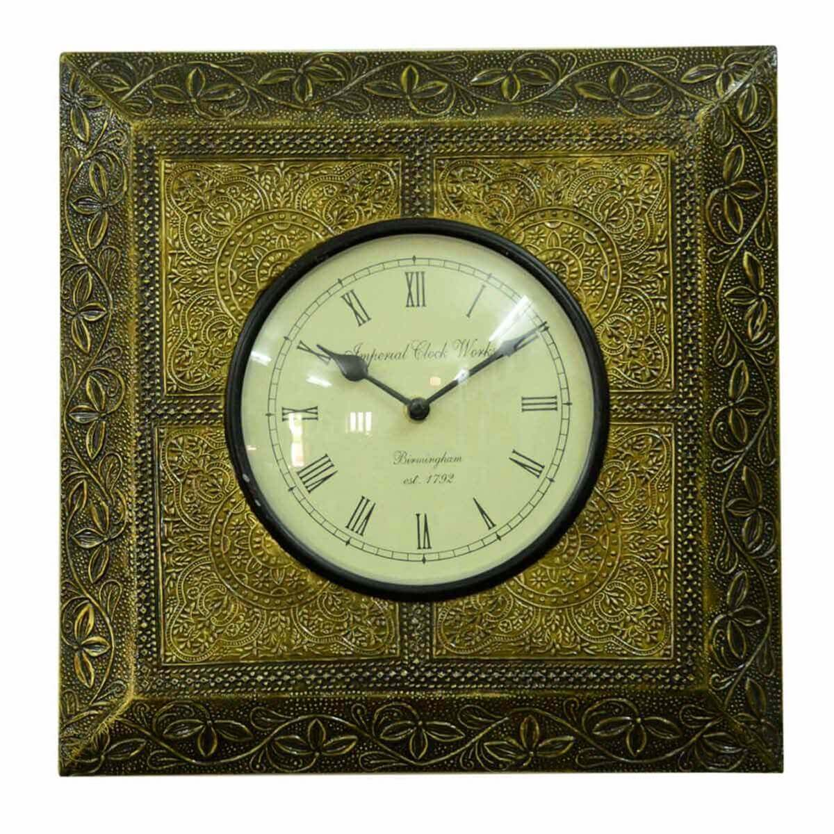 Classic Roman Numeral Round Wall Clock Square Brass Frame