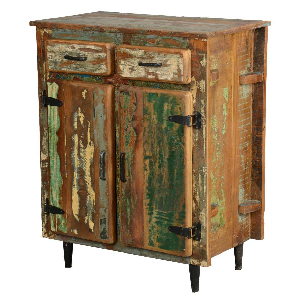 Rustic Wood Kitchen : Appalachian Rustic Painted Old Wood Standing Kitchen Utility Cabinet