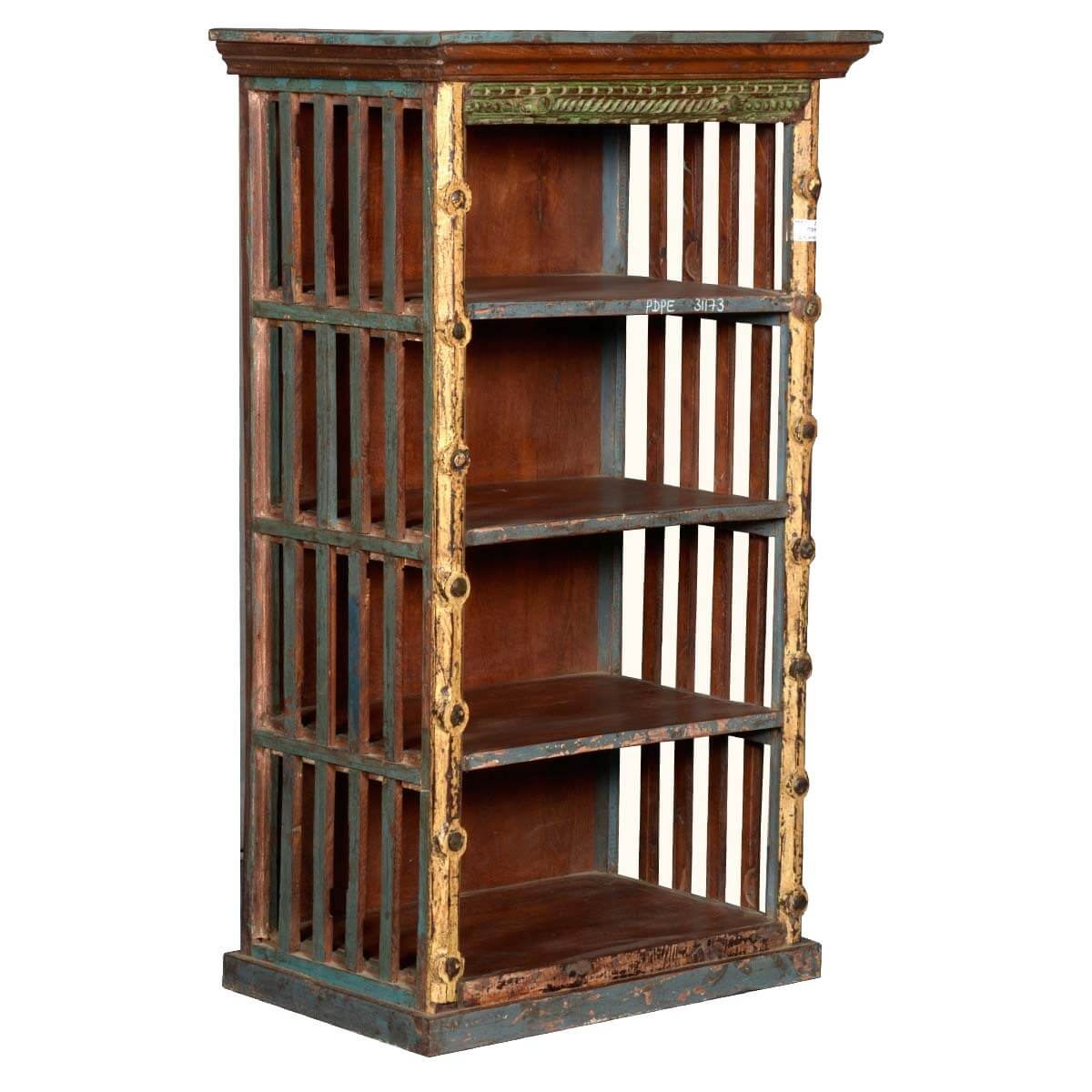 Reclaimed Wood Bookcase ~ Rustic open slats reclaimed wood golden post bookcase