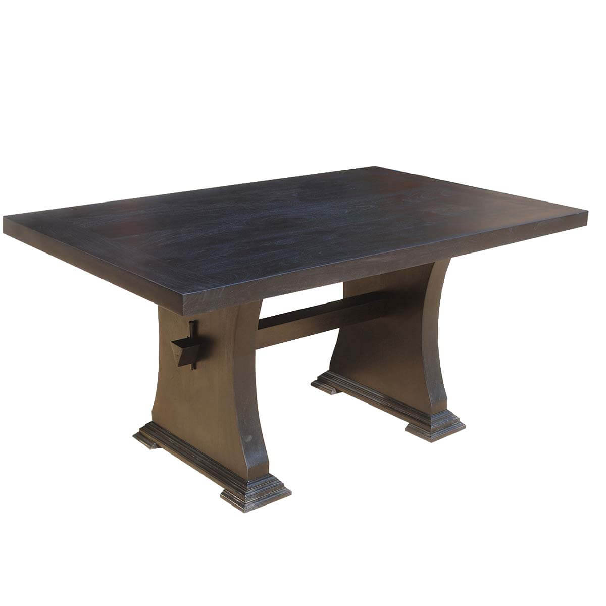 Pelham solid wood rectangle trestle dining room table for Solid wood dining table