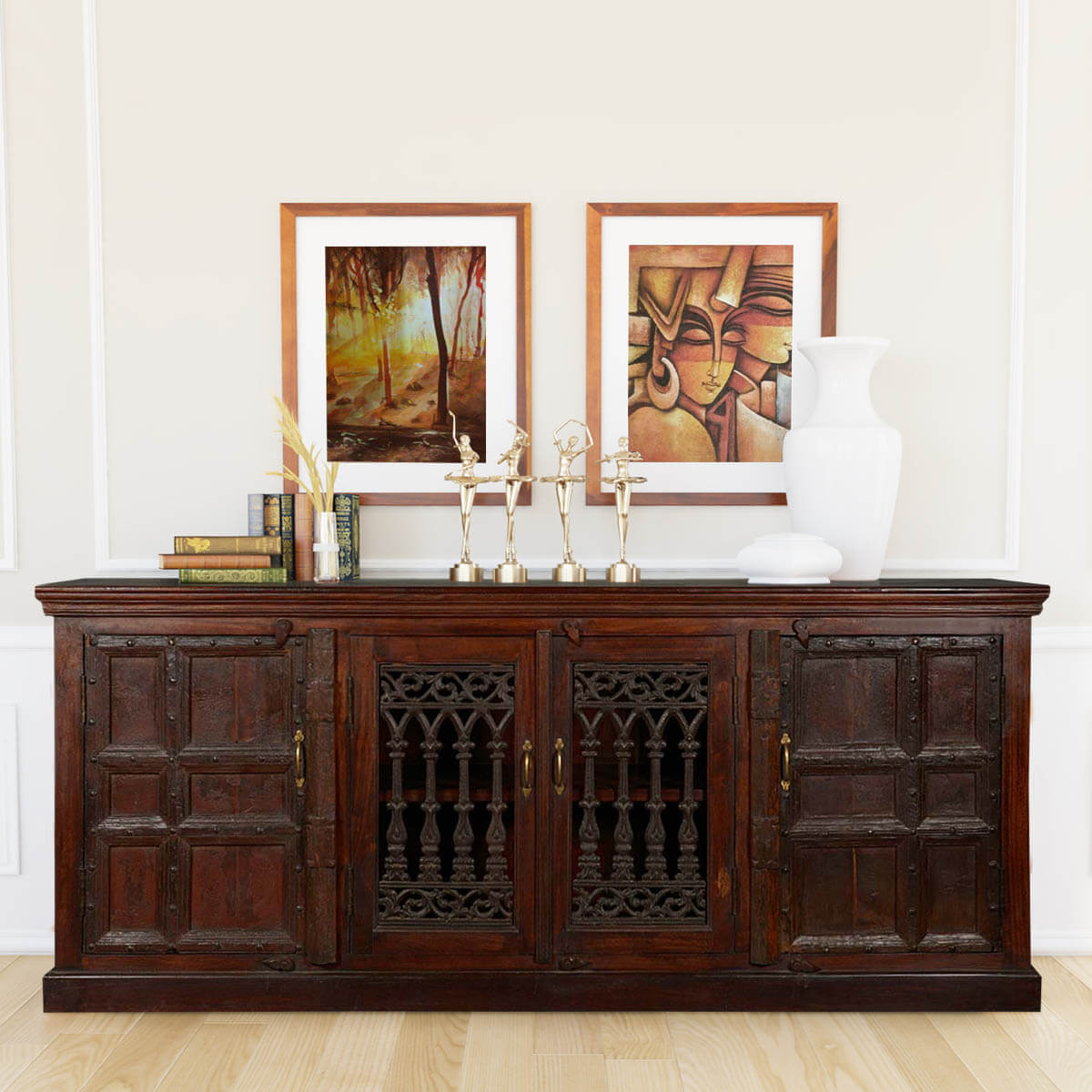 Gothic Gates 85 Quot Reclaimed Wood Sideboard Buffet Cabinet