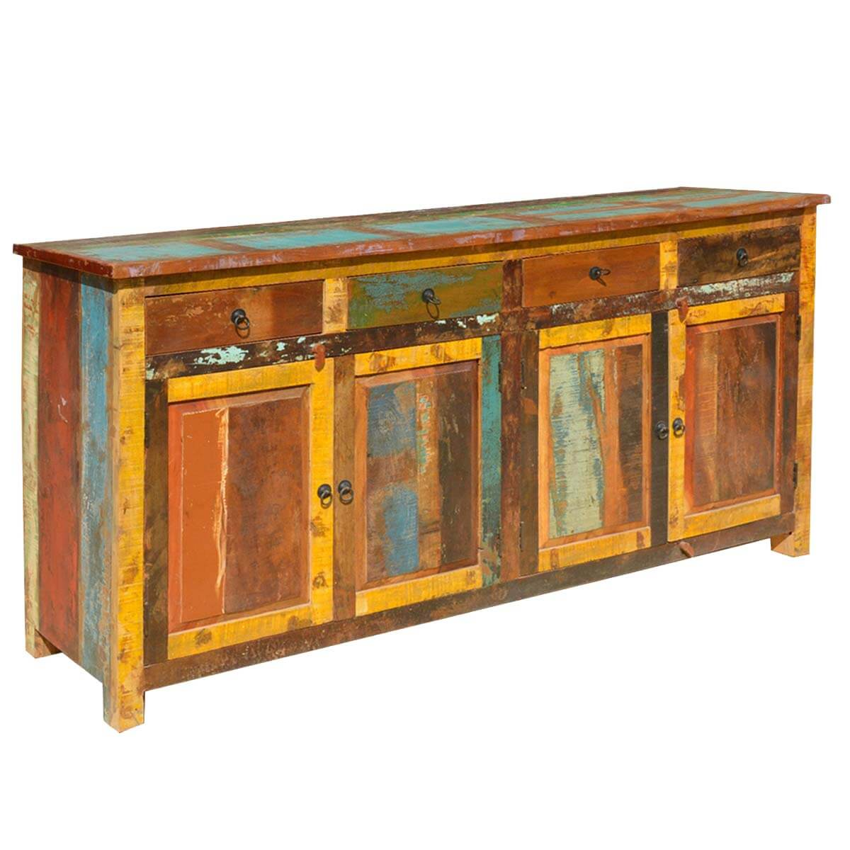 Appalachian Rustic Multi Color Old Wood 73 Buffet Cabinet