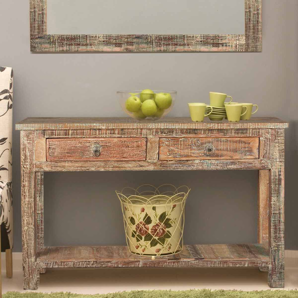 Hallway Console Table : Rustic Reclaimed Wood Naturally Distressed Hall Console Table