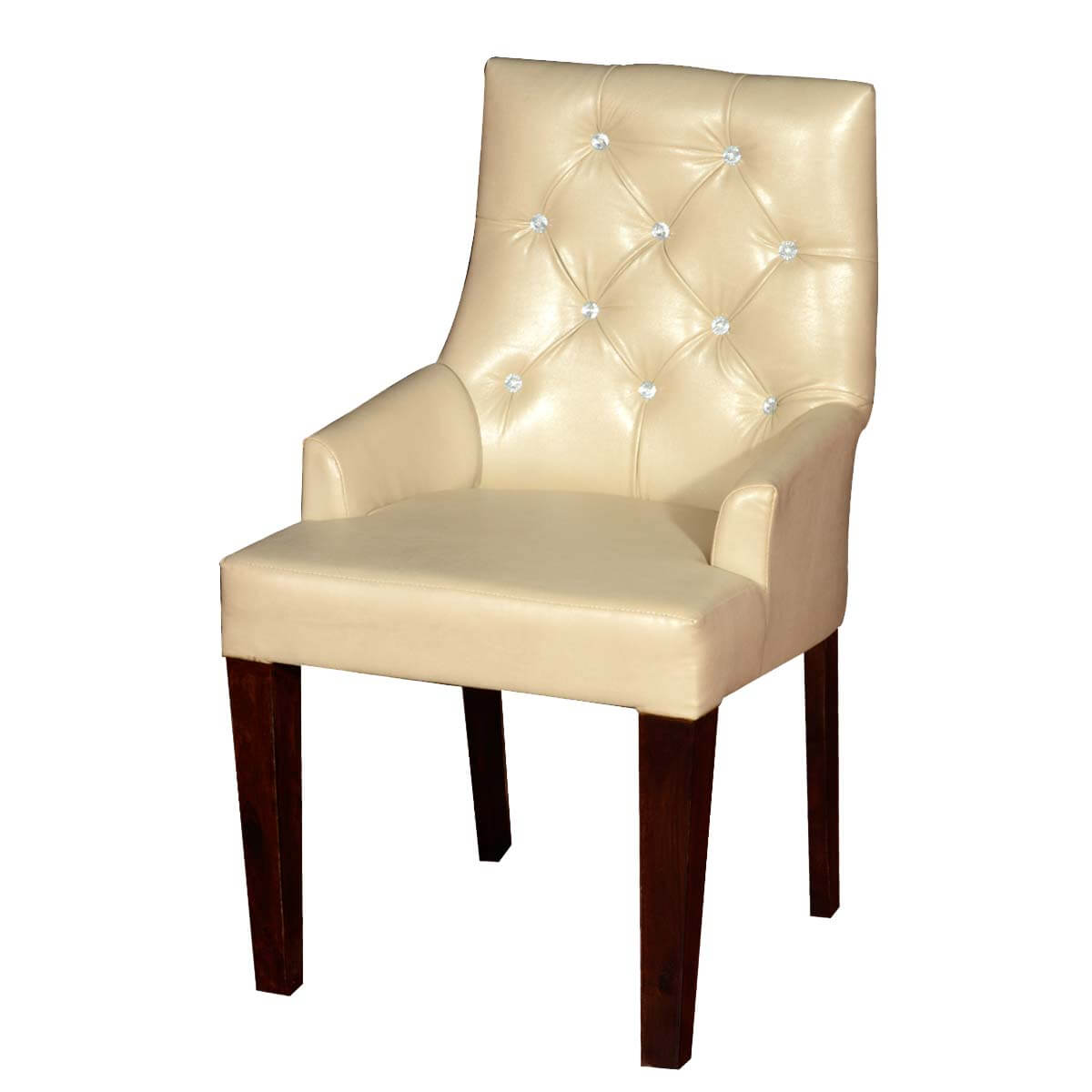 Contemporary white leather upholstered solid wood chair for White wood upholstered dining chairs